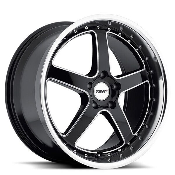 TSW Carthage 8,0x17 5/108 ET40 d-72 Gloss Black Mirror Lip Milled Spokes